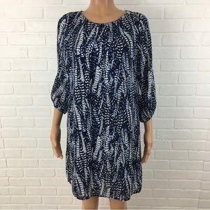 H&M Womens Dress Size 8 Blue White 3/4 Sleeve